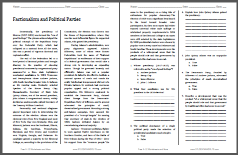 Factionalism and Political Parties - Free printable reading with questions (PDF file) for high school United States History students.