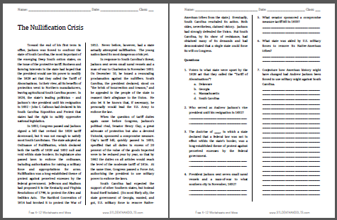 The Nullification Crisis - Free printable reading with questions for high school United States History students.