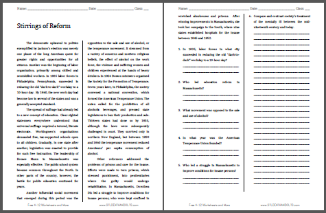 Stirrings of Reform - Reading with questions for high school United States History students is free to print (PDF file).