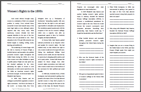 Women's Rights Reading with Questions - Free to print (PDF file) for high school United States History students.