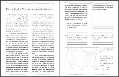 The Frontier, the West, and the American Experience Reading with Questions - Free to print (PDF file) for high school United States History students.