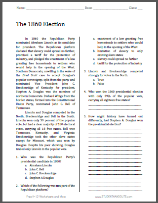 The 1860 Election - Free printable reading with questions for high school United States History students (PDF file).
