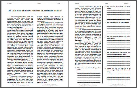 Civil War and New Patterns of American Politics Reading with Questions - Worksheet is free to print (PDF file) for high school United States History classes.