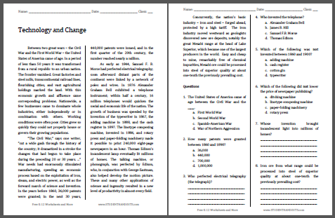 Technology and Change Reading with Questions - Worksheet is free to print (PDF file) for high school United States History classes.