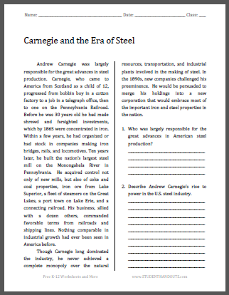 Carnegie and the Era of Steel - Free printable reading with questions for high school United States History students.