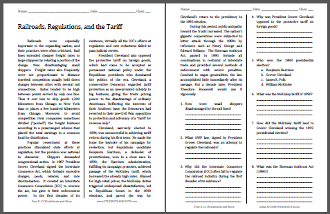 Railroads, Regulations, and the Tariff Reading with Questions - Free to print (PDF file) for high school American History classes.