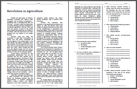 Revolution in Agriculture - Free printable reading with questions for high school United States History students (PDF file).