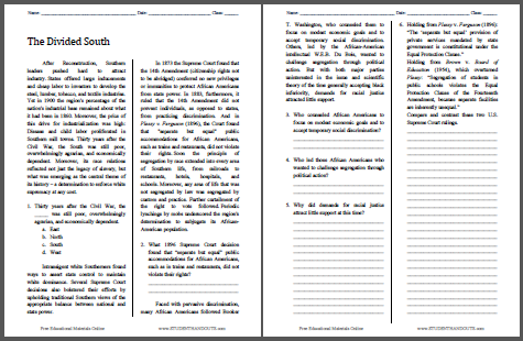The Divided South - Free printable reading with questions worksheet (PDF file) for high school American History students.