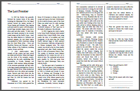 The Last Frontier - Free printable reading with questions worksheet for high school United States History classes.
