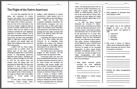 Plight of the Native Americans - Reading with questions for high school United States History classes. Free to print (PDF file).