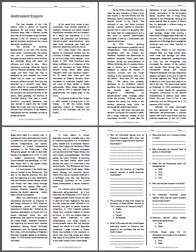 Ambivalent Empire - Reading with questions for high school United States History classes. Free to print (PDF file).