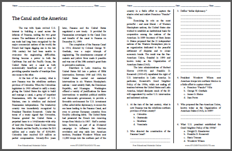 Panama Canal and the Americas Reading with Questions - Free to print (PDF file) for high school United States History students.