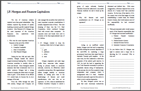 J.P. Morgan and Finance Capitalism - Reading with questions for high school United States History students. Free to print (PDF file).