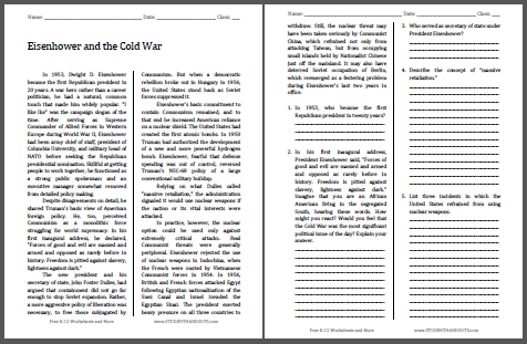 Eisenhower and the Cold War - Free printable reading with questions (PDF file) for high school United States History students.