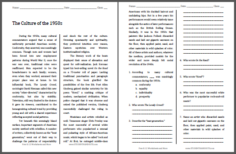 Culture of the 1950s Reading with Questions - Free to print (PDF file).