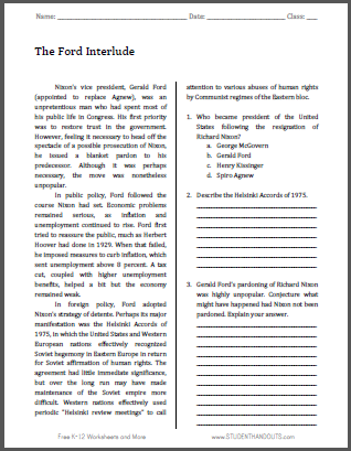 The Ford Interlude - Free printable reading with questions for U.S. History classes.