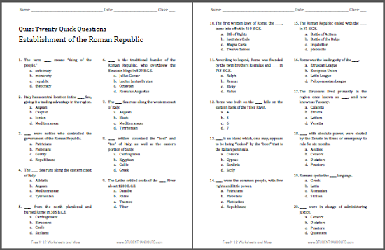 Roman Republic Printable Pop Quiz Student Handouts. Quick Pop Quiz Roman Republic Free To Print Pdf File Twenty. Worksheet. Ancient Rome Worksheet At Clickcart.co