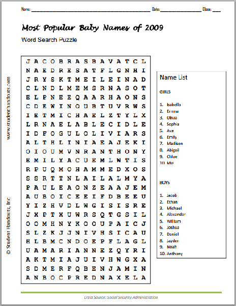 Most Popular Baby Names of 2009 Word Search Puzzle