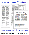 Free Printable APUSH Reading Worksheets with Questions for United States History