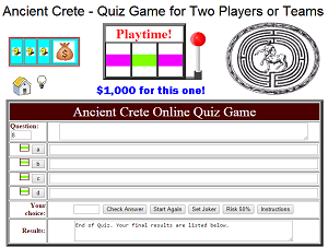 Ancient Crete Online Quiz Game - Free to Play