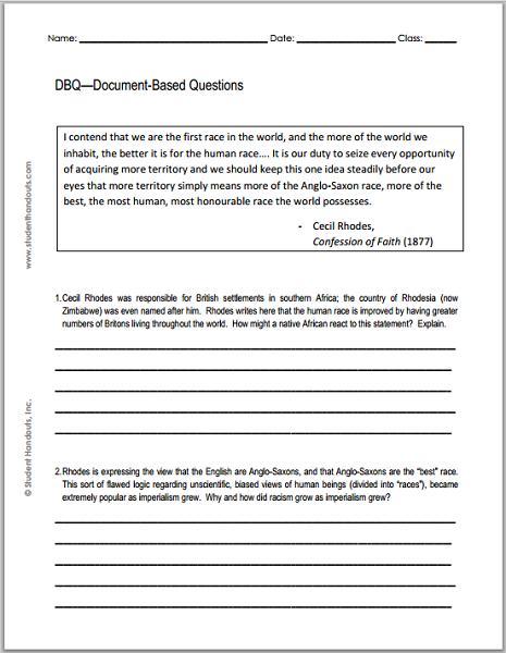 Free Printable DBQ Worksheet - Excerpt from Cecil Rhodes' Confession of Faith (1877)