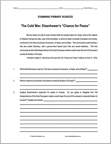 "Eisenhower's ""Chance for Peace"" DBQ Worksheet - Free to print (PDF file)."