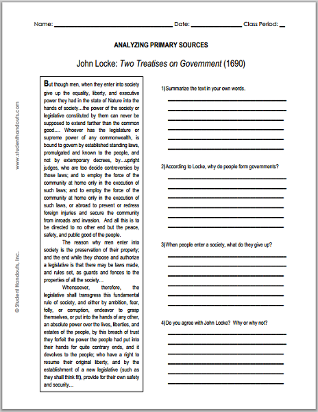 John Locke S Two Treatises On Government Dbq Worksheet Student