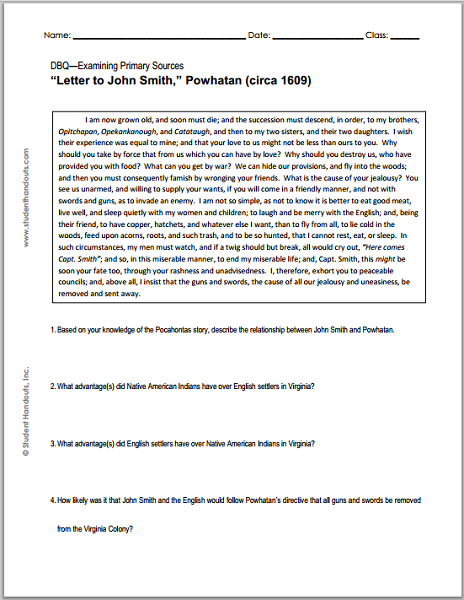 """""""Letter to John Smith"""" Powhatan, circa 1609 - DBQ Worksheet"""