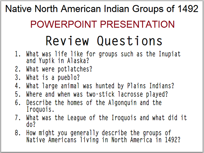 Native North American Indians, 1492 - PowerPoint Presentation with Guided Student Notes