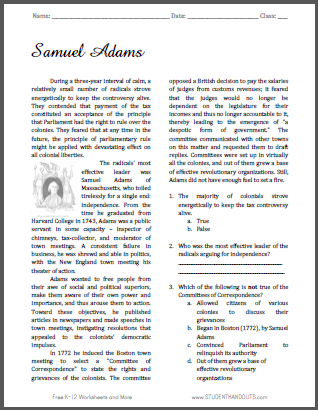 Samuel Adams Reading with Questions for High School American History