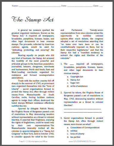 The Stamp Act - Free printable reading with questions for United States History students.