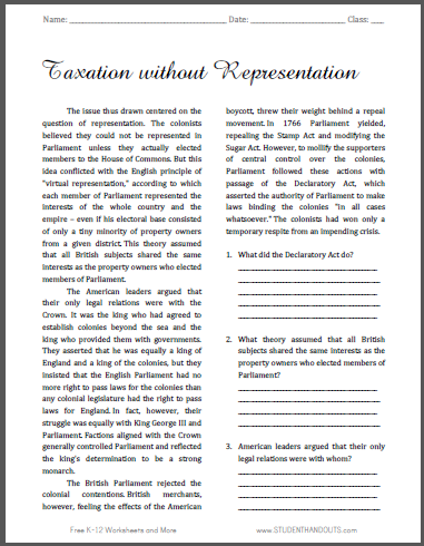 Taxation without Representation - Free printable reading with questions for high school United States History students.