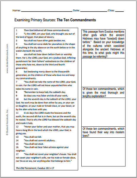 Examining Primary Resources: DBQ worksheet on the Ten Commandments of the Old Testament