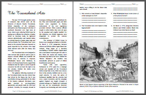 """""""The Townshend Acts"""" Reading with Questions for High School United States History Students"""