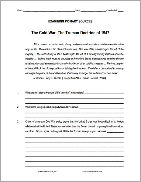 The Truman Doctrine (1947) DBQ Worksheet - Free to print (PDF file).
