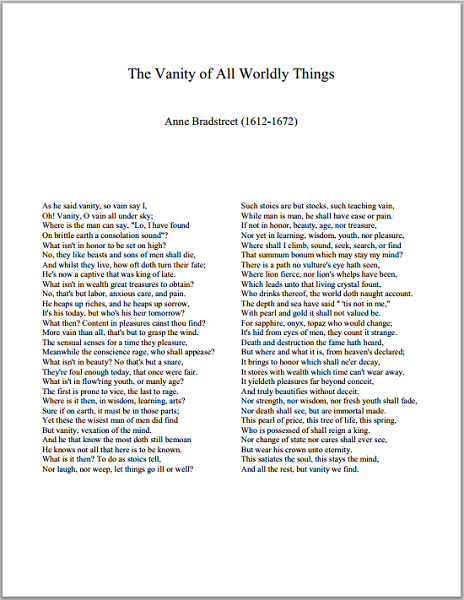 """The Vanity of All Worldly Things"" by Anne Bradstreet"