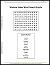 Western United States Word Search Puzzle