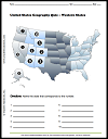 Western United States Map Quiz Worksheet