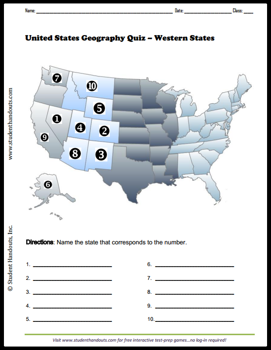 photograph regarding Western United States Map Printable titled Western United Says Map Quiz Pupil Handouts