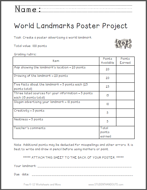World Landmarks Poster Project Rubric | Student Handouts