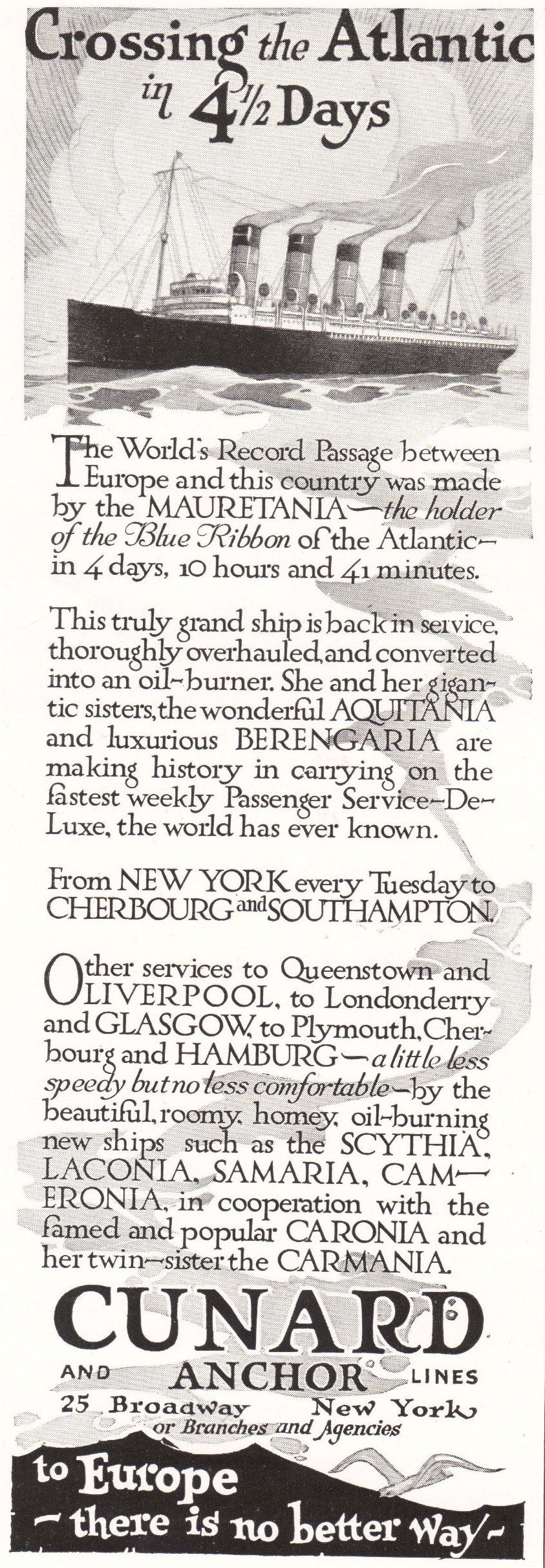 Cunard and Anchor Atlantic Lines - Antique advertisement from 1922.