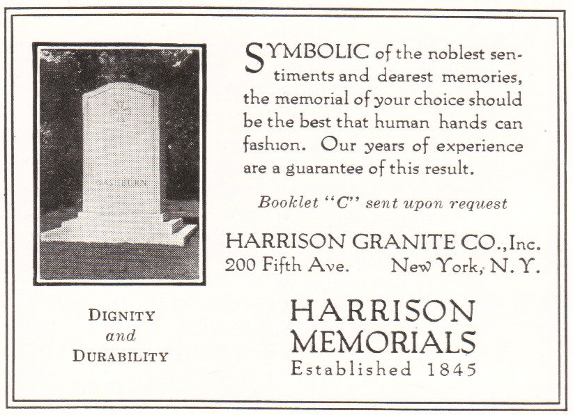 Harrison Memorials, established 1845. Harrison Granite Company, Inc.