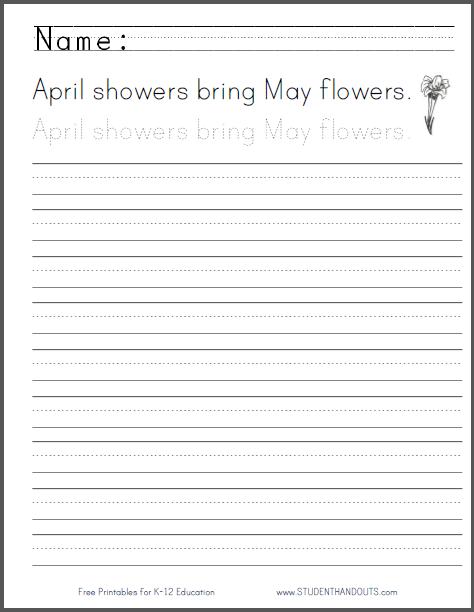 April Showers Handwriting Sheet - Print or cursive worksheet is free to print (PDF file).
