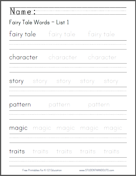 fairy tale words handwriting worksheets student handouts. Black Bedroom Furniture Sets. Home Design Ideas