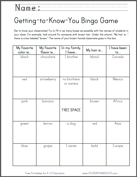 Getting-to-Know-You Bingo Game - Icebreaker is free to print (PDF file) for elementary school students.
