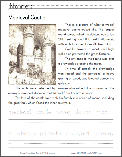 Medieval Castle Lower Elementary Worksheet - Free to print (PDF file) in print manuscript or cursive script.