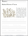 Medieval Women Coloring and Writing Worksheet