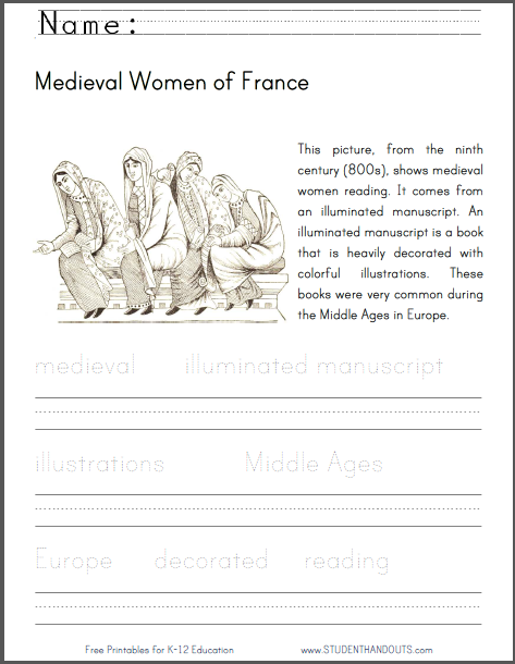 Medieval Women of France Lower Elementary Worksheet - Free to print (PDF file).
