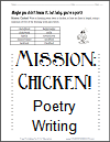 Mission: Chicken! Poetry Writing Worksheet