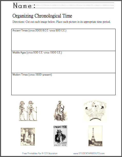 Organizing Chronological Time Worksheet - Free to print (PDF file) for upper elementary Social Studies students.